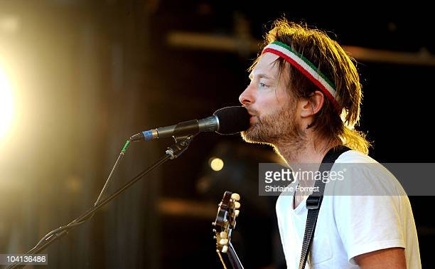 Thom Yorke of Radiohead performs a secret show on the Park stage on Day 2 of the Glastonbury Festival at Worthy Farm on June 25 2010 in Glastonbury...