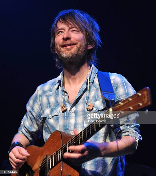 Thom Yorke of Radiohead performs at a benefit concert on behalf of the Oxfam Haiti Relief Fund on January 24 2010 in Hollywood California