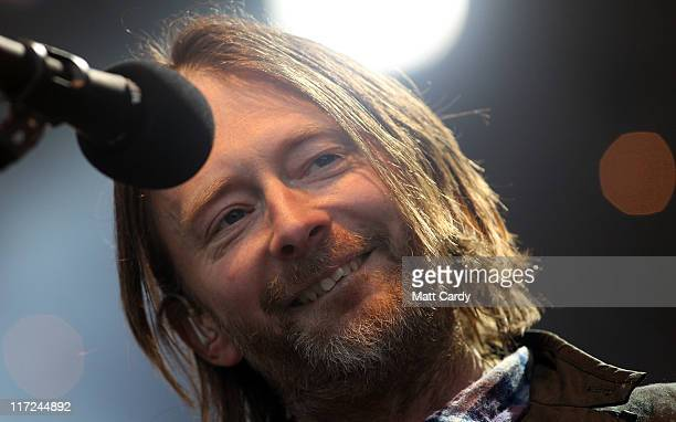 Thom Yorke of Radiohead performs at the Park Stage at the Glastonbury Festival site at Worthy Farm Pilton on June 24 2011 in Glastonbury England...