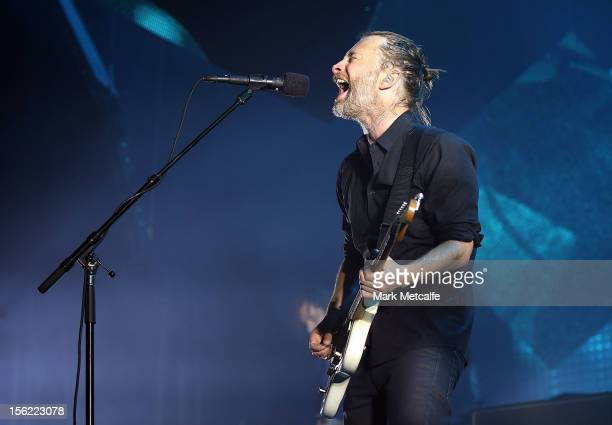 Thom Yorke of Radiohead performs live on stage at Sydney Entertainment Centre on November 12 2012 in Sydney Australia