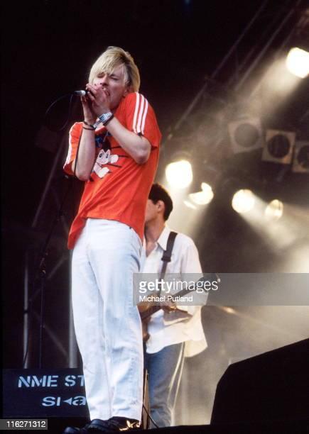 Thom Yorke of Radiohead performs on stage at Glastonbury Festival UK June 1994