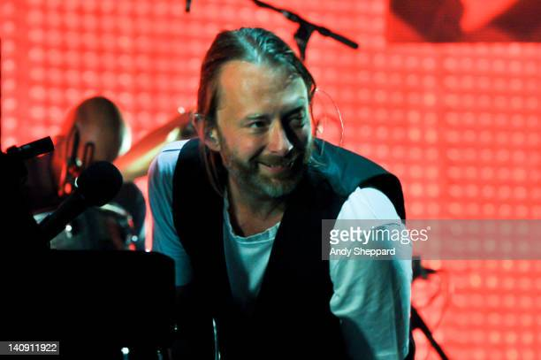 Thom Yorke of Radiohead performs on stage at The Frank Erwin Center on March 7 2012 in Austin Texas