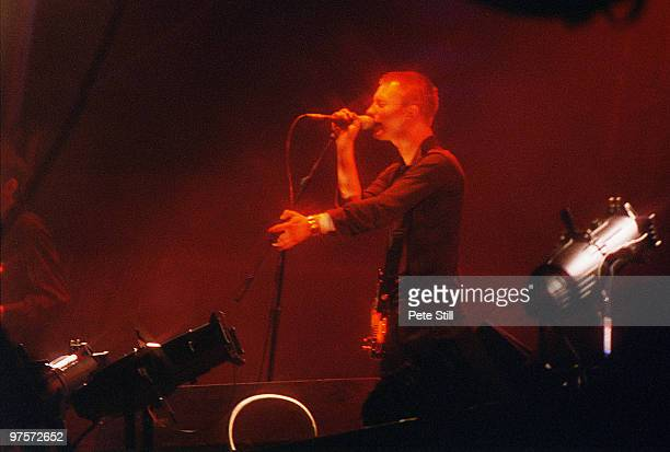 Thom Yorke of Radiohead performs on stage at the Glastonbury Festival on June 28th 1997 in Glastonbury England