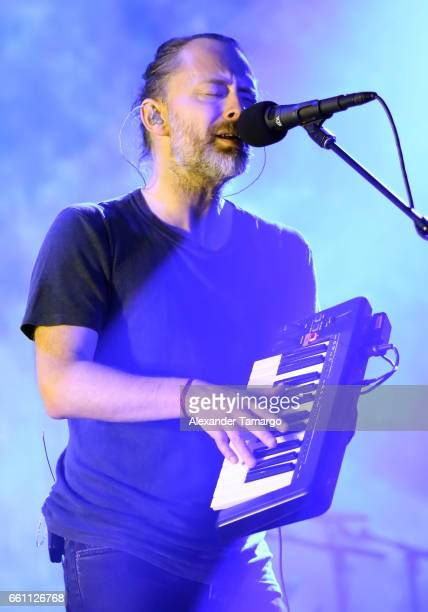 Thom Yorke of the band Radiohead is seen performing at the AmericanAirlines Arena on March 30 2017 in Miami Florida