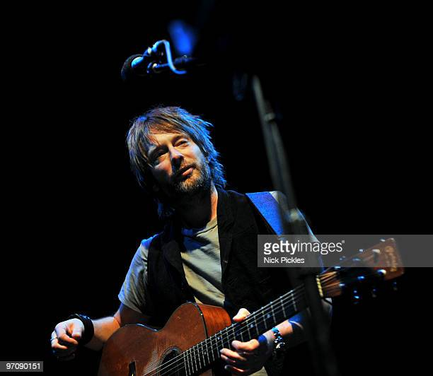 Thom Yorke performs at the Cambridge Corn Exchange during a fundraising event for the local Green MP Candidate on February 25 2010 in Cambridge...