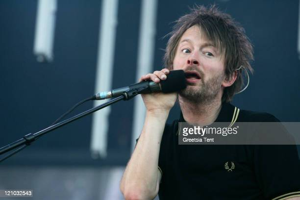 Thom Yorke performs live with his band Radiohead at the Westerpark on July 1 2008 in Amsterdam The Netherlands