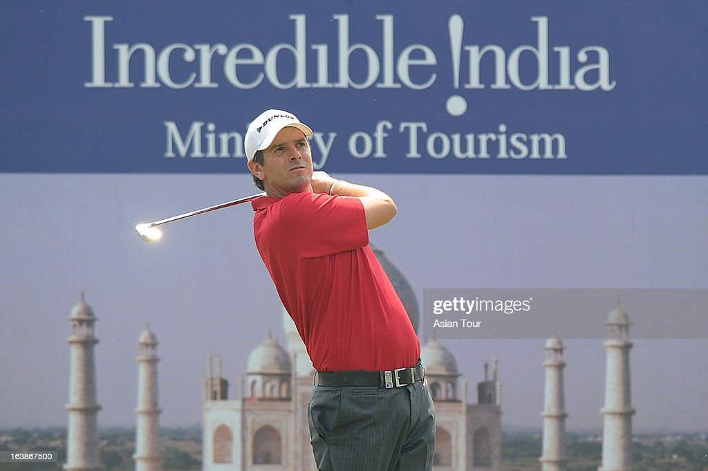 Thomas Aiken of South Africa in action during day 4 of the Avantha Masters at Jaypee Greens Golf Course on March 17 2013 in Noida India