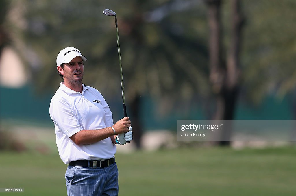 Thomas Aiken of South Africa in action during day three of the Avantha Masters at Jaypee Greens Golf Club on March 16, 2013 in Delhi, India.