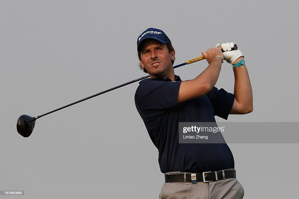 Thomas Aiken of South Africa plays a shot during the first day of the Volvo China Open at Binhai Lake Golf Course on May 2, 2013 in Tianjin, China.