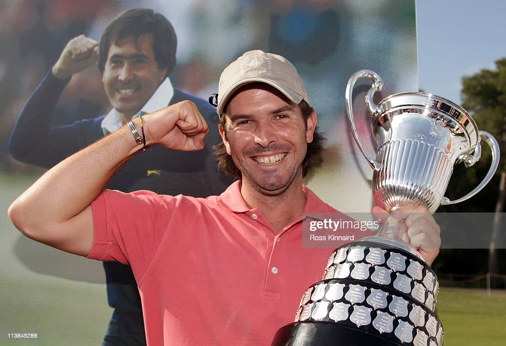 Thomas Aiken of South Africa with the winners trophy after the final round of the Open de Espana at the Real Club de Golf El Prat on May 8 2011 in...