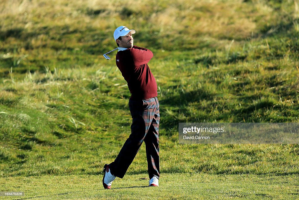 Thomas Aiken plays his second shot to the second hole during the first round of The Alfred Dunhill Links Championship at Carnoustie Golf Links on October 4, 2012 in Carnoustie, Scotland.