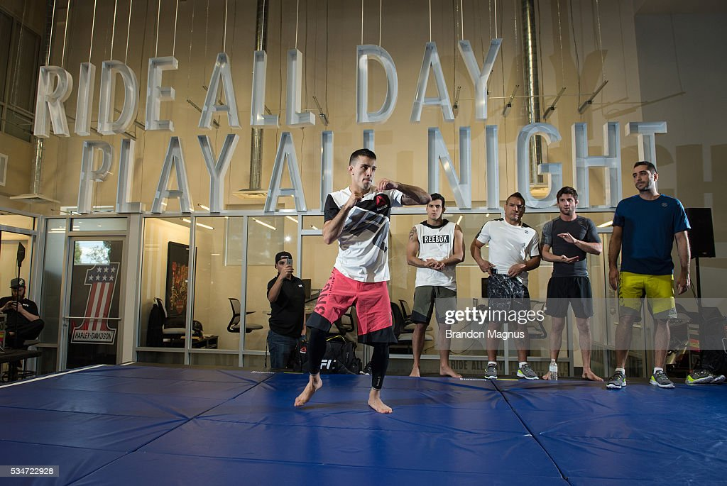 <a gi-track='captionPersonalityLinkClicked' href=/galleries/search?phrase=Thomas+Almeida&family=editorial&specificpeople=13708173 ng-click='$event.stopPropagation()'>Thomas Almeida</a> holds an open workout for the fans and media at the Las Vegas Harley-Davidson on May 27, 2016 in Las Vegas Nevada.