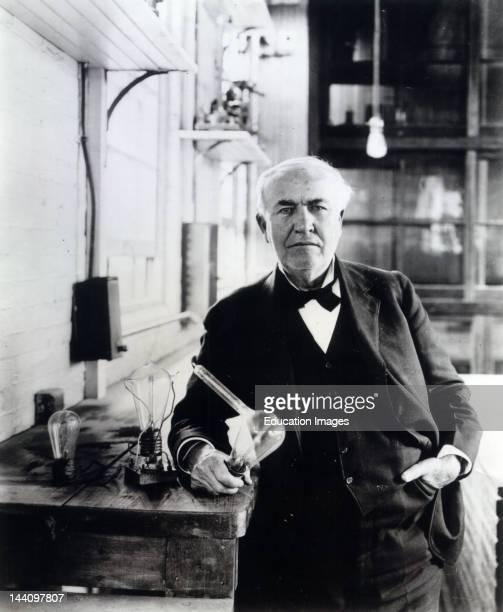 Thomas Alva Edison With His 'Edison Effect' Lamps