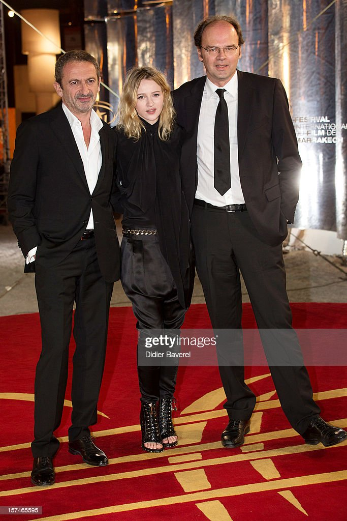 Thomas Anargyros, French Actress <a gi-track='captionPersonalityLinkClicked' href=/galleries/search?phrase=Christa+Theret&family=editorial&specificpeople=4354937 ng-click='$event.stopPropagation()'>Christa Theret</a> and French Director Jean Pierre Ameris attend the 12th International Marrakech Film Festival on December 3, 2012 in Marrakech, Morocco.