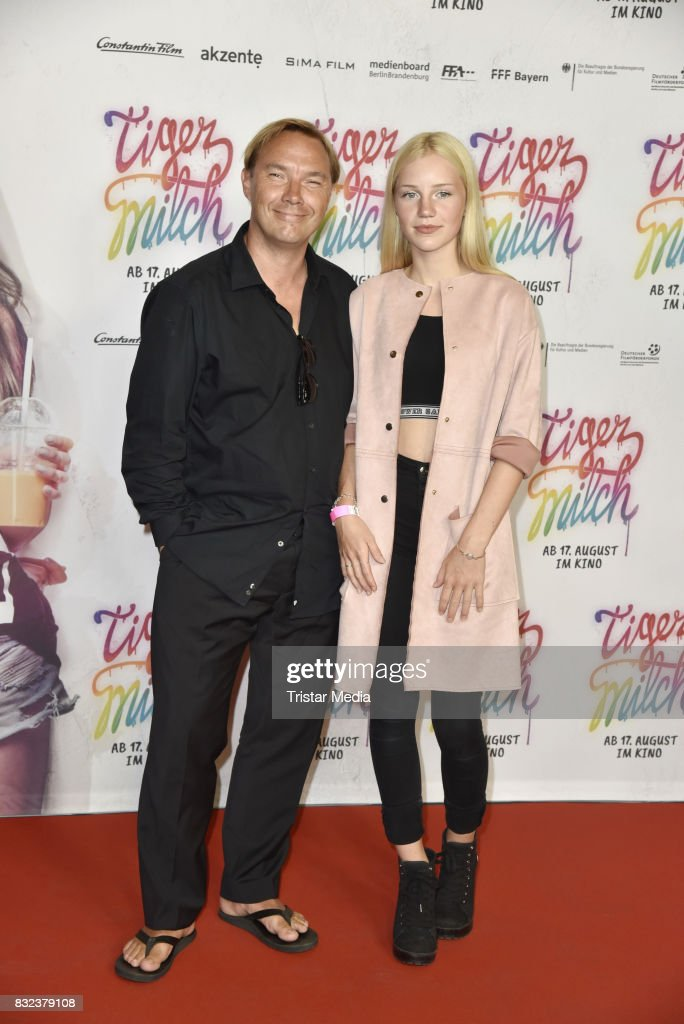 Thomas Arnold and his daughter Louisa Arnold attend the 'Tigermilch' Premiere at Kino in der Kulturbrauerei on August 15, 2017 in Berlin, Germany.