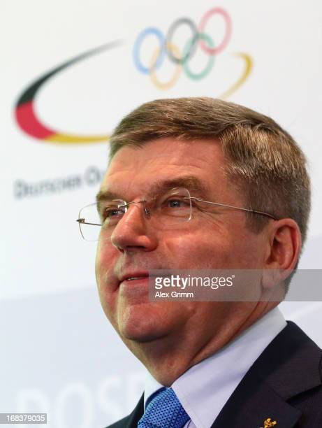 Thomas Bach International Olympic Committee Vice President and head of the German NOC announces his plan to run for IOC president during a press...