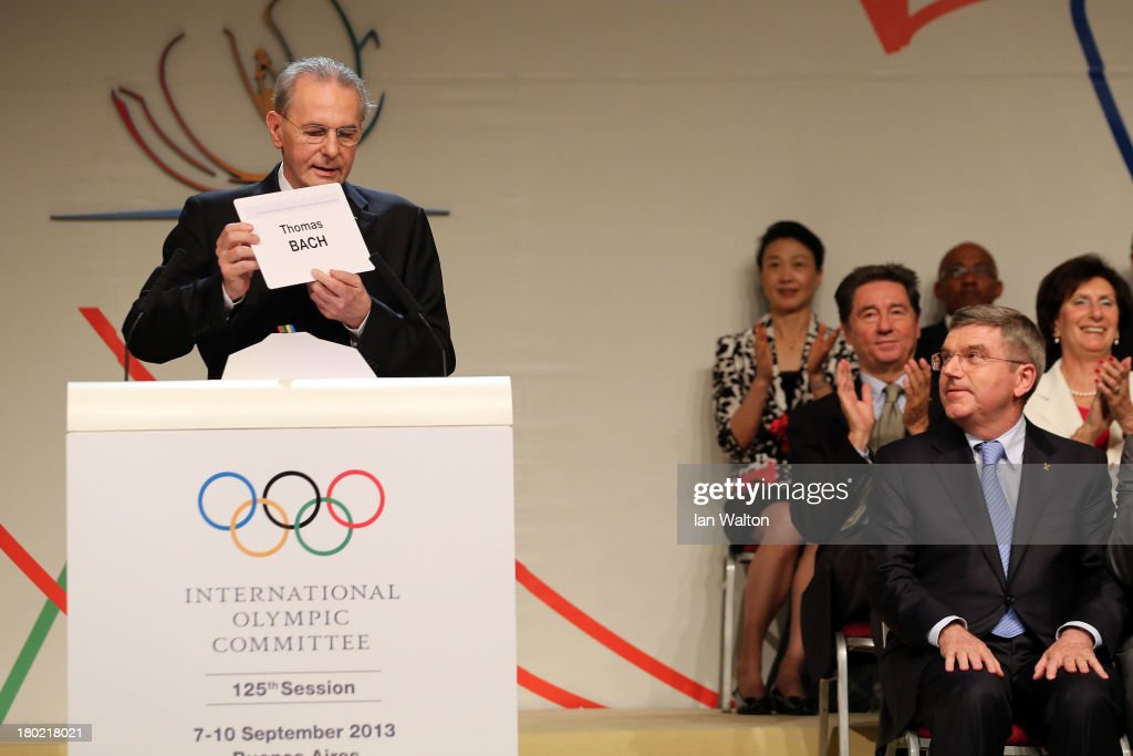 <a gi-track='captionPersonalityLinkClicked' href=/galleries/search?phrase=Thomas+Bach&family=editorial&specificpeople=610149 ng-click='$event.stopPropagation()'>Thomas Bach</a> (R) is announced as the ninth IOC President by President of the IOC <a gi-track='captionPersonalityLinkClicked' href=/galleries/search?phrase=Jacques+Rogge&family=editorial&specificpeople=206143 ng-click='$event.stopPropagation()'>Jacques Rogge</a> during the 125th IOC Session - IOC Presidential Election at the Hilton Hotel on on September 10, 2013 in Buenos Aires, Argentina.