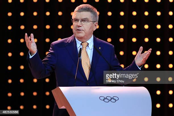 Thomas Bach President of IOC speaks during their 2022 Winter Olympic Games host city bid presentation at the 128th IOC Session at Kuala Lumpur...