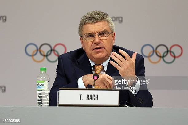 Thomas Bach President of IOC speaks to press during the 128th IOC Session on July 31 2015 in Kuala Lumpur Malaysia