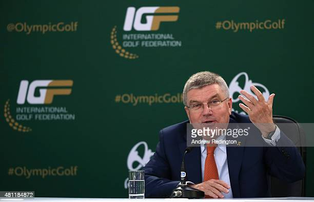 Thomas Bach president of the International Olympic Committee speaks about golf at Rio 2016 during a news conference during the second round of the...