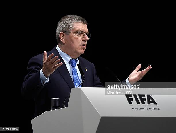 Thomas Bach President of the International Olympic Committee talks during the Extraordinary FIFA Congress at Hallenstadion on February 26 2016 in...