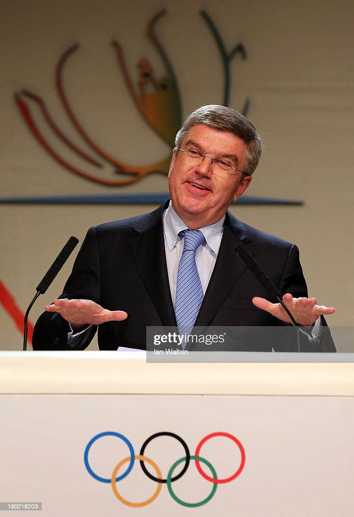<a gi-track='captionPersonalityLinkClicked' href=/galleries/search?phrase=Thomas+Bach&family=editorial&specificpeople=610149 ng-click='$event.stopPropagation()'>Thomas Bach</a> reacts as he is announced as the ninth IOC President during the 125th IOC Session - IOC Presidential Election at the Hilton Hotel on on September 10, 2013 in Buenos Aires, Argentina.