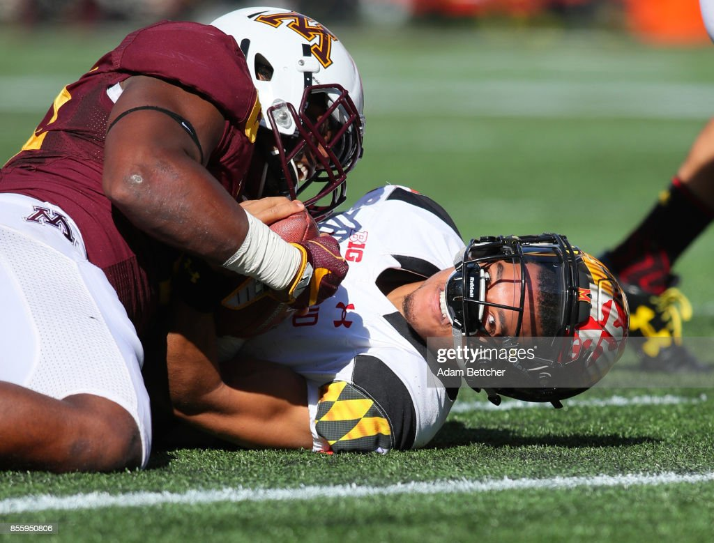 Thomas Barber #41 of the Minnesota Golden Gophers stops Ryan Brand #16 of the Maryland Terrapins on the one yard line in the first quarter at TCF Bank Stadium on September 30, 2017 in Minneapolis, Minnesota.