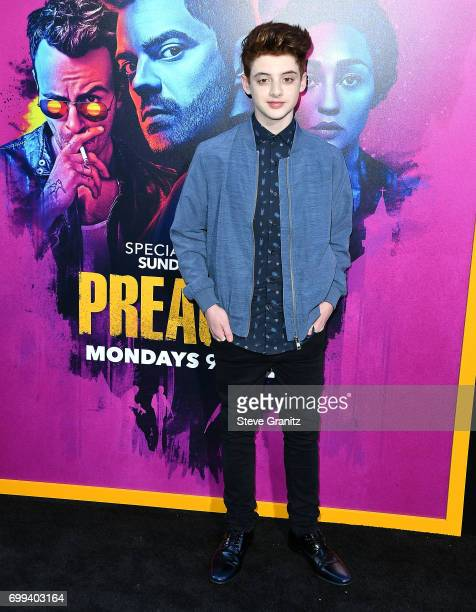Thomas Barbusca arrives at the Premiere Of AMC's 'Preacher' Season 2 at The Theatre at Ace Hotel on June 20 2017 in Los Angeles California