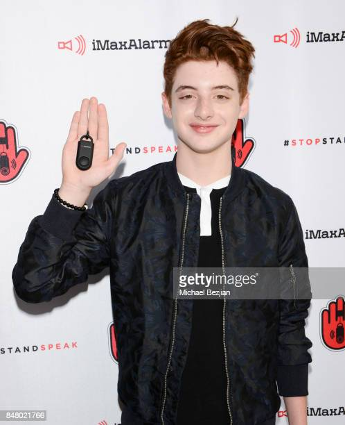 Thomas Barbusca attends iMaxAlarm pledges to #StopStandSpeak against Street Harassment at the GBK Pilot Pen Pre Awards Celebrity Lounge 2017 Day 2 on...
