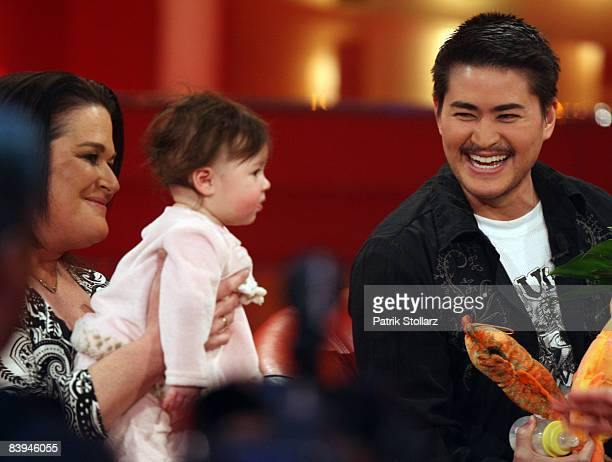 Thomas Beatie Nancy Beatie and daughter Susan Juliette pictured during the RTL 2008 review show on December 07 2008 in Cologne Germany
