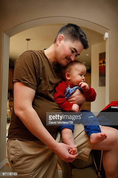 Thomas Beatie spends time with his son Austin Alexander Beatie on February 17 2010 in Bend Oregon Thomas a transgender male is 17 weeks pregnant with...