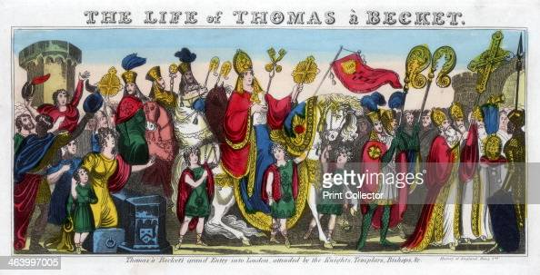 'Thomas à Becket's grand Entry into London attended by the Knights Templars Bishops etc' 12th century
