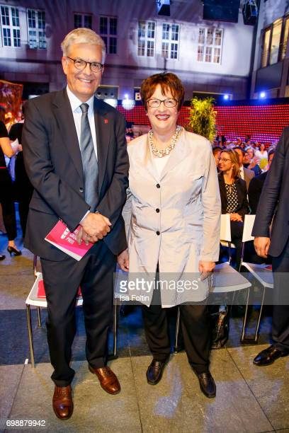 Thomas Bellut and German politician Brigitte Zypries attend the Deutscher Gruenderpreis on June 20 2017 in Berlin Germany