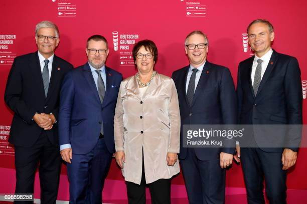 Thomas Bellut Christian Krug Brigitte Zypries Georg Fahrenschon and Oliver Blume attend the Deutscher Gruenderpreis on June 20 2017 in Berlin Germany