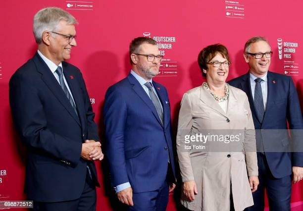 Thomas Bellut Christian Krug German politician Brigitte Zypries and Georg Fahrenschon attend the Deutscher Gruenderpreis on June 20 2017 in Berlin...