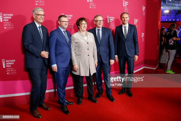 Thomas Bellut Christian Krug German politician Brigitte Zypries Georg Fahrenschon and Oliver Blume attend the Deutscher Gruenderpreis on June 20 2017...