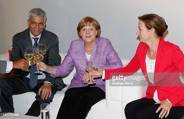 Thomas Bellut German Chancellor Angela Merkel and Bettina Schausten attend the ZDF summer reception on July 2 2012 in Berlin Germany