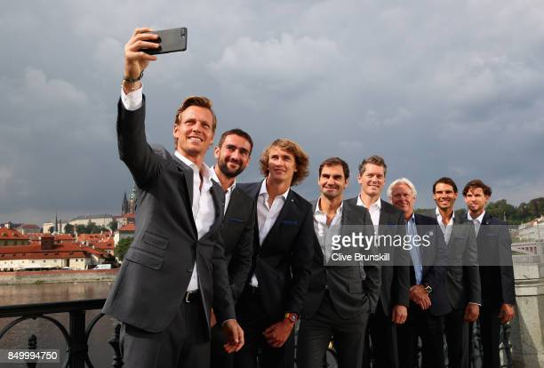 Thomas Berdych Marin Cilic Alexander Zverev Rodger Ferderer Thomas Enqvist Bjorn Bjorg Rafael Nadal and Dominic Thiem of Team Europe pose for a...