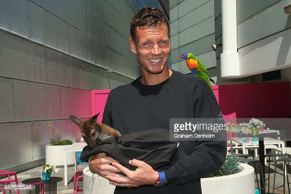 Thomas Berdych of the Czech Republic poses with a rainbow lorikeet and a joey during day four of the 2017 Australian Open at Melbourne Park on...