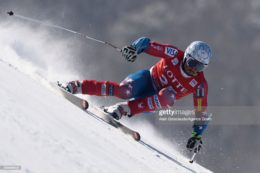 ,Thomas Biesemeyer of the USA competes during the Audi FIS Alpine Ski World Cup Men's Super G on January 07, 2016 in Jeongseon, South Korea.