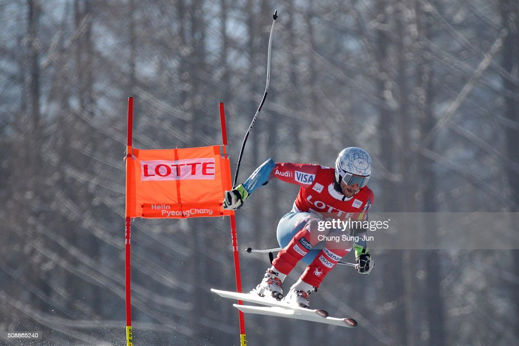 Thomas Biesemeyer of United States competes in the Men's Super G Finals during the 2016 Audi FIS Ski World Cup at the Jeongseon Alpine Centre on February 7, 2016 in Jeongseon-gun, South Korea.