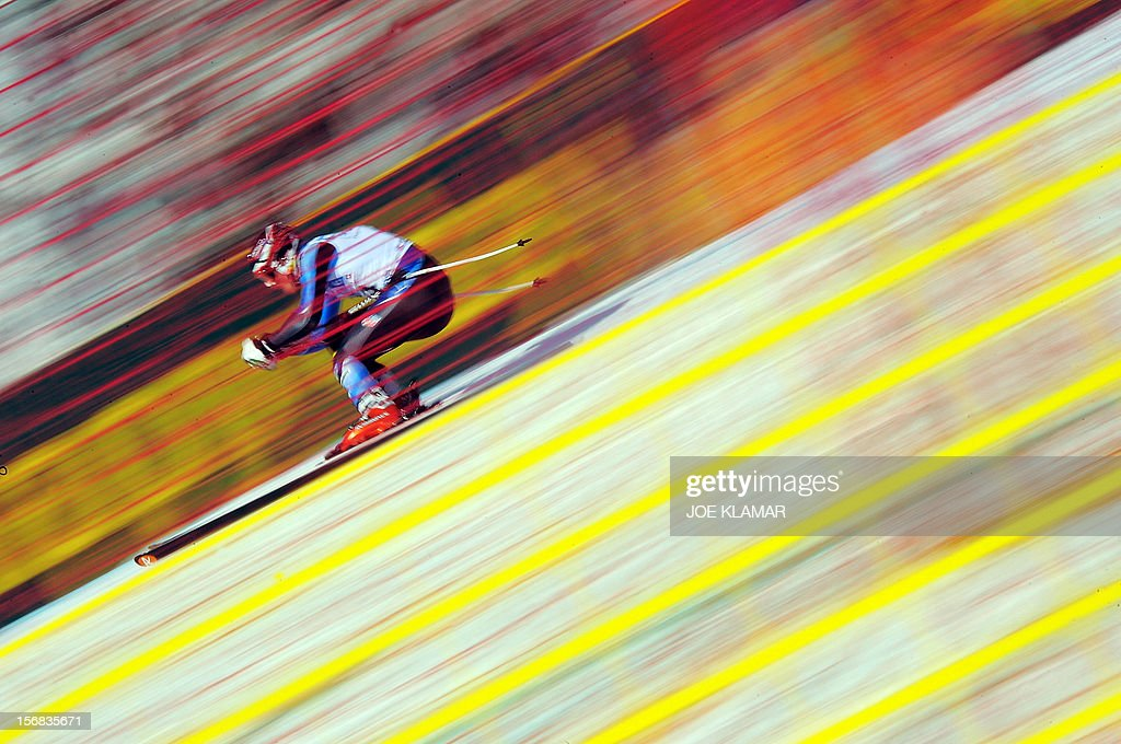 Thomas Biesemeyer of US skis during the downhill practice for the Alpine Skiing World Cup in Lake Louise, Canada on November 22, 2012.