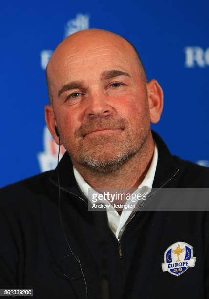 Thomas Bjorn Captain of Europe looks on during a Ryder Cup 2018 Year to Go Captains Press Conference at the Pullman Paris Tour Eiffel Hotel on...