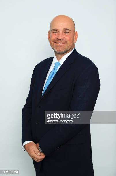 Thomas Bjorn Captain of Europe poses during the Ryder Cup 2018 Year to Go Captains Official Photocall at the Pullman Paris Tour Eiffel Hotel on...