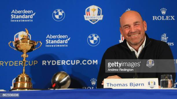 Thomas Bjorn Captain of Europe smiles during a Ryder Cup 2018 Year to Go Captains Press Conference at the Pullman Paris Tour Eiffel Hotel on October...