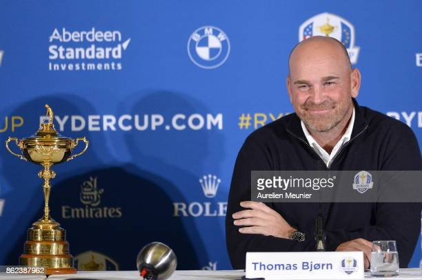 Thomas Bjorn Captain of Europe speaks during a Ryder Cup 2018 Year to Go Captains Press Conference at the Pullman Paris Tour Eiffel Hotel on October...