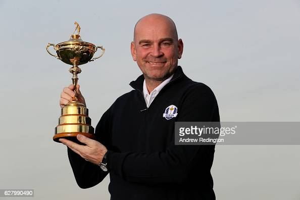 Thomas Bjorn is pictured with the trophy during the European Ryder Cup Captain Announcement at Wentworth Club on December 5 2016 in London England