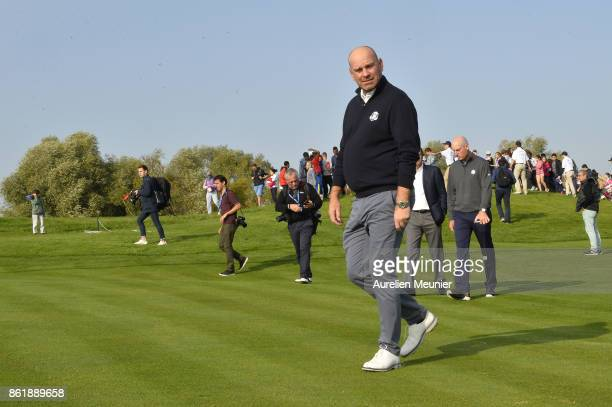 Thomas Bjorn of Denmark Captain of the Ryder Cup 2018 reacts during the Captain's Challenge at Golf National on October 16 2017 in SaintQuentin en...
