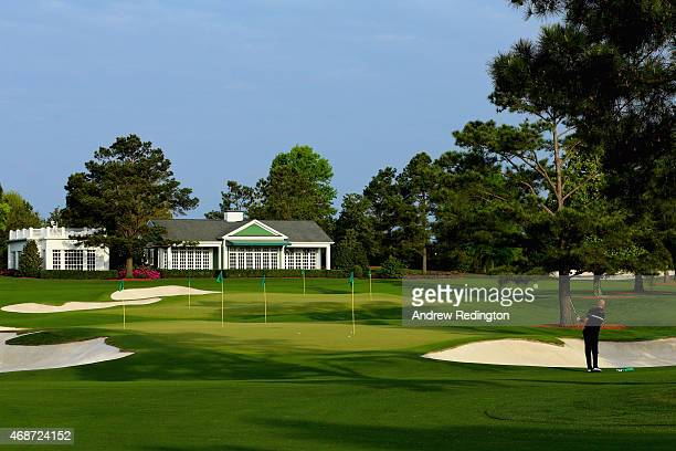 Thomas Bjorn of Denmark hits balls on the range during a practice round prior to the start of the 2015 Masters Tournament at Augusta National Golf...
