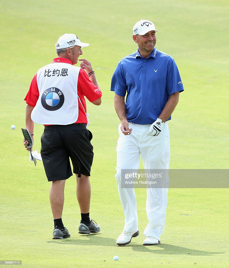 Thomas Bjorn of Denmark in action during the final round of the BMW Masters at Lake Malaren Golf Club on October 27, 2013 in Shanghai, China.